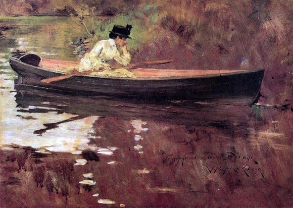 William Merritt Chase Mrs. Chase in Prospect Park - Canvas Art Print