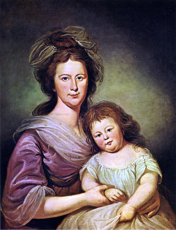 Charles Willson Peale Mrs. Thomas Leiper and Her Daughter, Helen Hamilton Leiper - Canvas Art Print