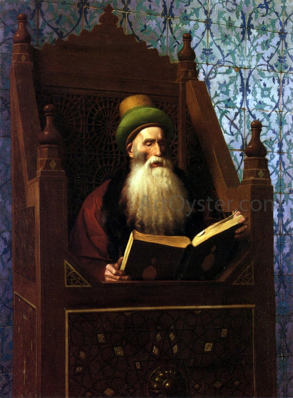 Jean-Leon Gerome Mufti Reading in His Prayer Stool - Canvas Art Print