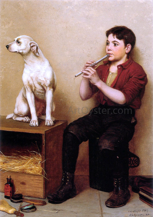 John George Brown Music Hath No Charms - Canvas Art Print