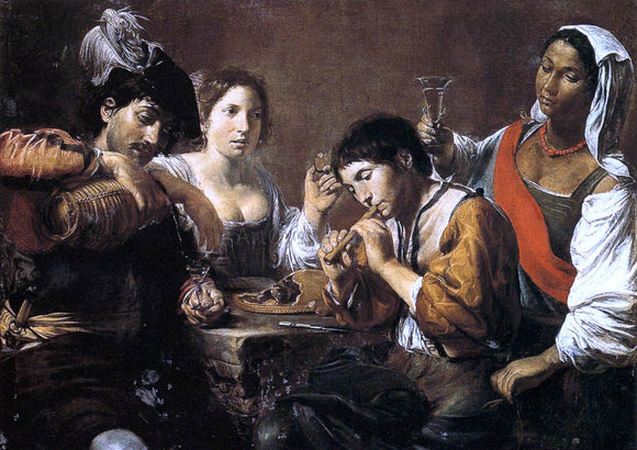 Valentin De boulogne Musician and Drinkers - Canvas Art Print