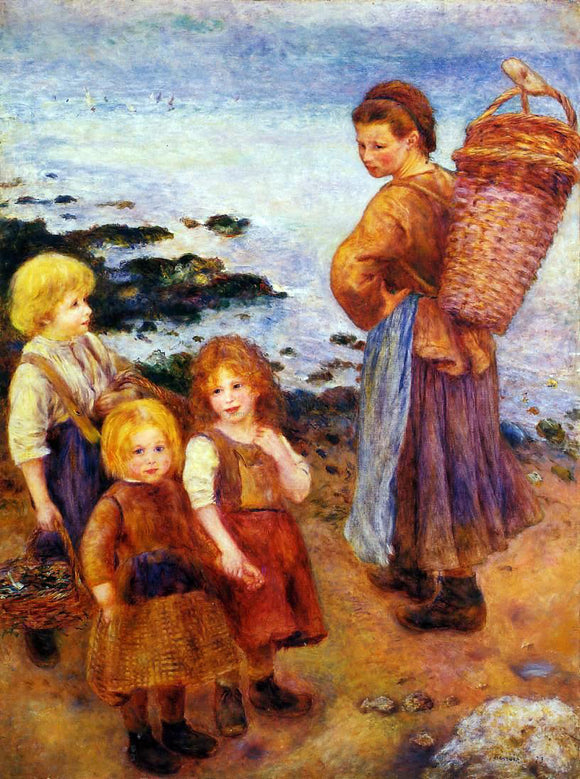 Pierre Auguste Renoir Mussel Fishers at Berneval - Canvas Art Print