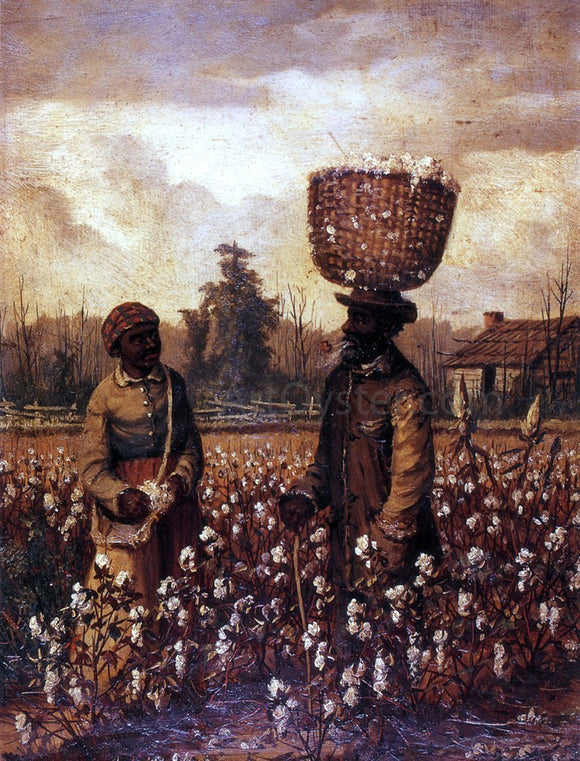William Aiken Walker Negro Man and Woman in Cotton Field with Cabin - Canvas Art Print