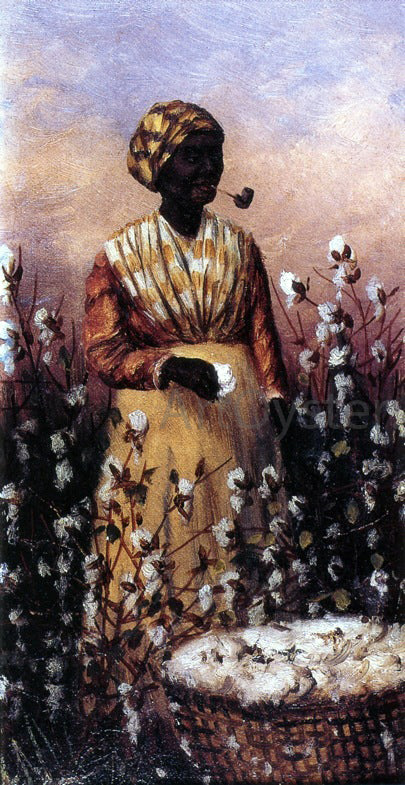 William Aiken Walker Negro Woman Smoking Pipe and Picking Cotton - Canvas Art Print
