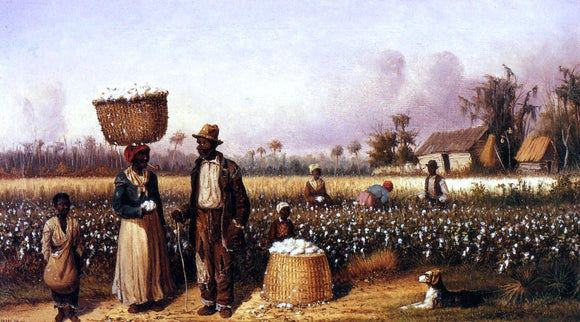 William Aiken Walker Negro Workers in Cotton Field with Dog - Canvas Art Print