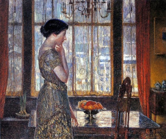 Frederick Childe Hassam New York Winter Window - Canvas Art Print