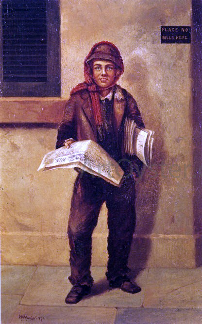 William Aiken Walker Newsboy Selling the Baltimore Sun - Canvas Art Print