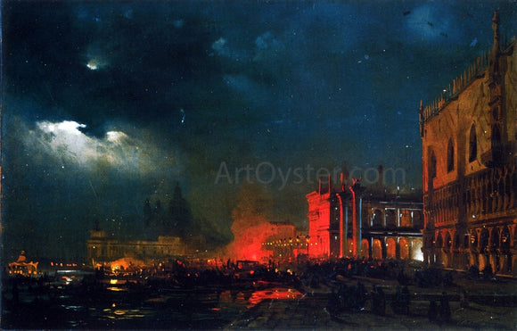 Ippolito Caffi Night Festival on the Molo di San Marco upon the Feast Day of the Archduke Massimiliano d'Asborgo - Canvas Art Print