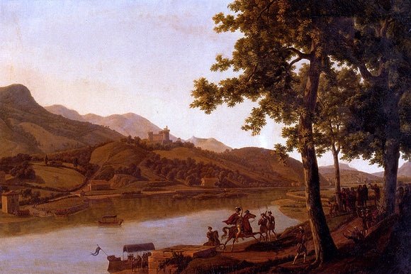 Alexandre-Louis-Robert-Millin Duperreux Nobles Disembarking Along The Banks Of A River - Canvas Art Print