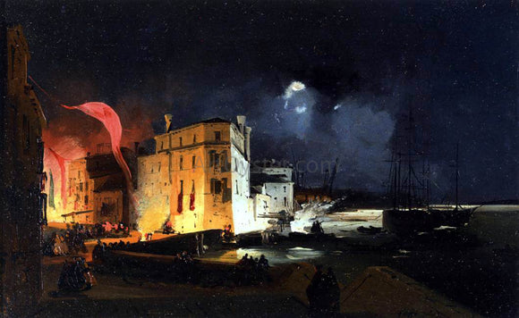 Ippolito Caffi Nocturnal Celebrations in Via Eugenia at Venice - Canvas Art Print