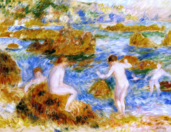 Pierre Auguste Renoir Nude Boys on the Rocks at Guernsey - Canvas Art Print