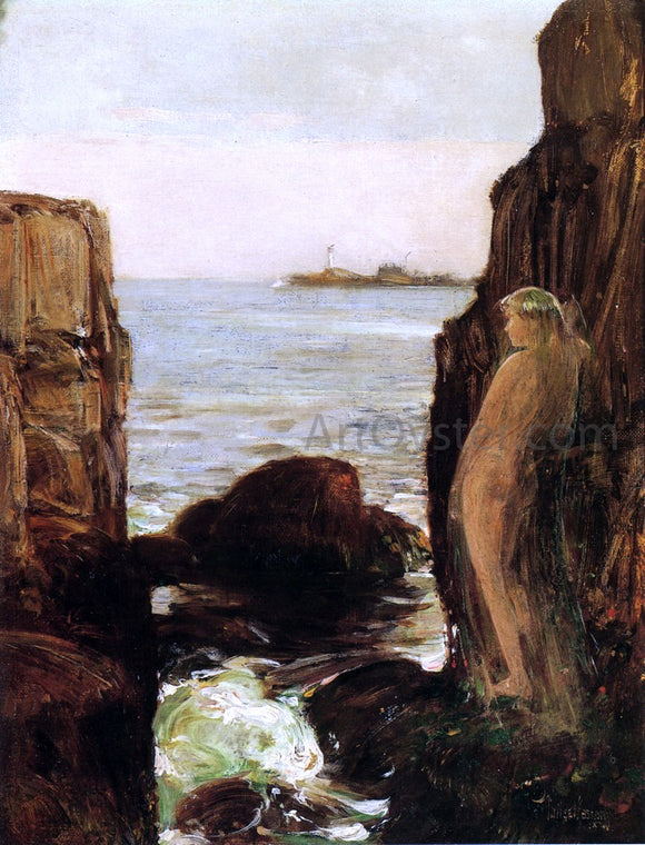 Frederick Childe Hassam Nymph on a Rocky Ledge - Canvas Art Print
