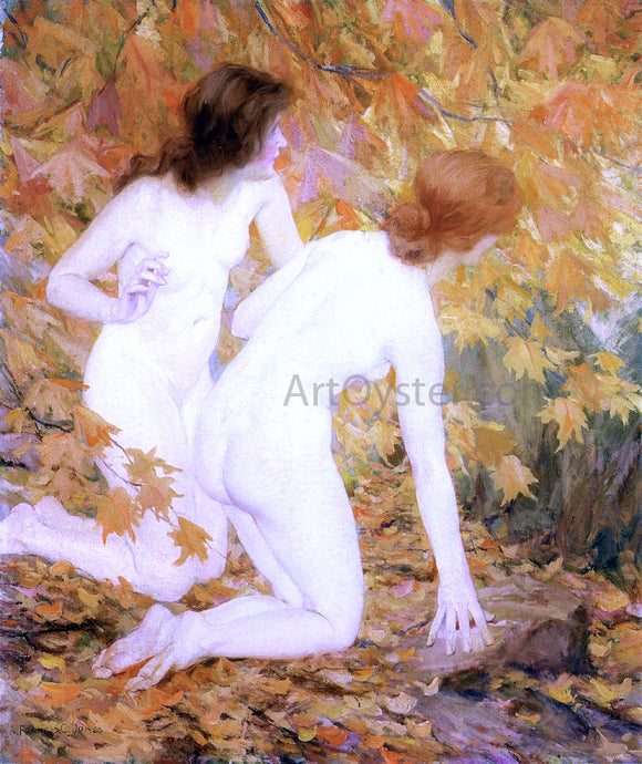 Francis Coates Jones Nymphs in the Autumn Woods - Canvas Art Print