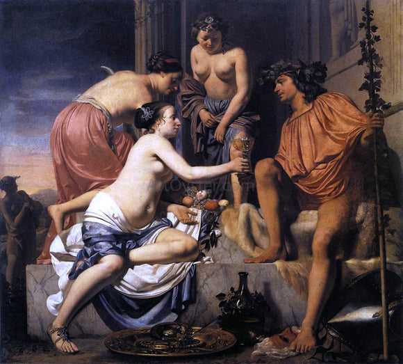 Caesar Van Everdingen Nymphs Offering the Young Bacchus Wine, Fruit and Flowers - Canvas Art Print