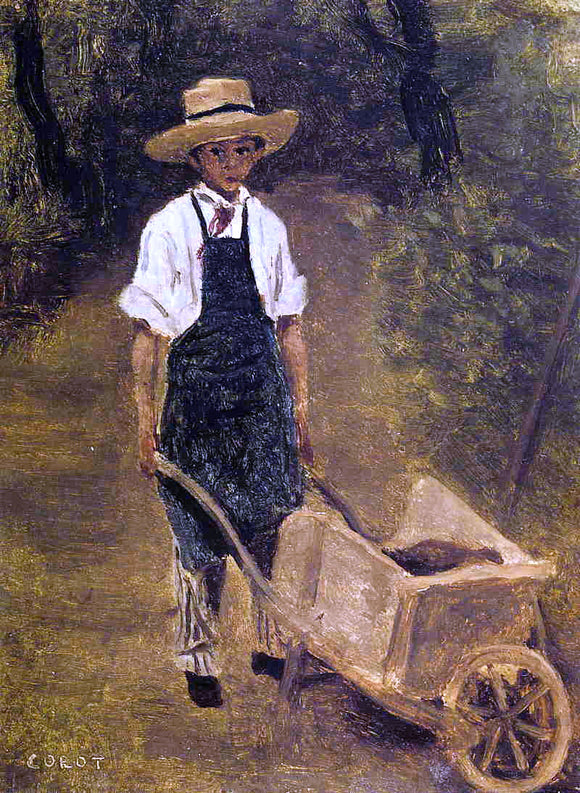 Jean-Baptiste-Camille Corot Octave Chamouillet Pushing a Wheelbarrow in a Garden - Canvas Art Print