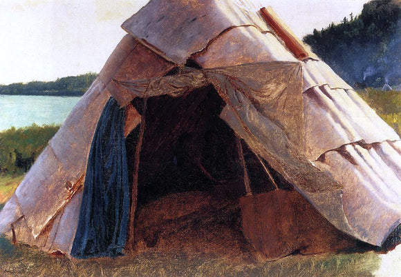 Eastman Johnson Ojibwe Wigwam at Grand Portage - Canvas Art Print