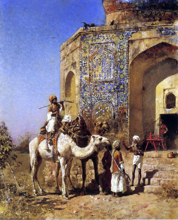 Edwin Lord Weeks Old Blue-Tiled Mosque, Outside of Delhi, India - Canvas Art Print
