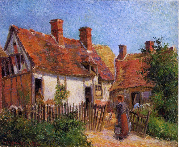 Camille Pissarro Old Houses at Eragny - Canvas Art Print