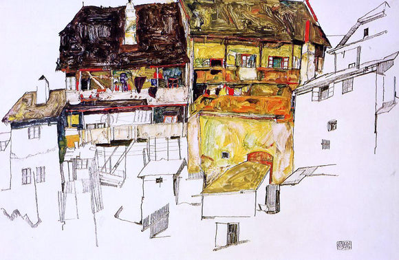 Egon Schiele Old Houses in Krumau - Canvas Art Print