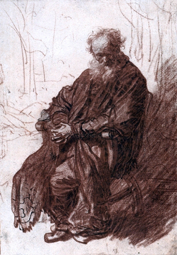 Rembrandt Van Rijn The Old Man Seated in an Armchair, Full-length - Canvas Art Print