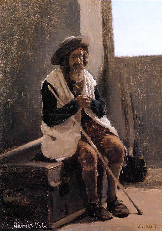 Jean-Baptiste-Camille Corot Old Man Seated on Corot's Trunk - Canvas Art Print