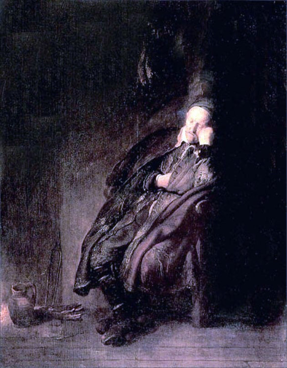 Rembrandt Van Rijn Old man Sleeping - Canvas Art Print