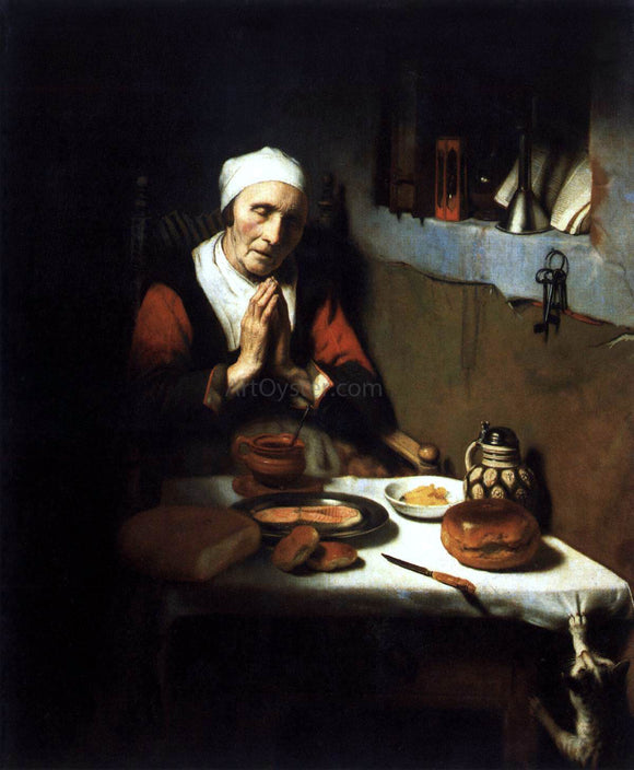 Nicolaes Maes Old Woman Saying Grace - Canvas Art Print