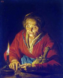Matthias Stom Old Woman with a Candle - Canvas Art Print