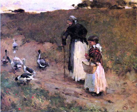 Willard Leroy Metcalf Old Woman with Child and Goose - Canvas Art Print