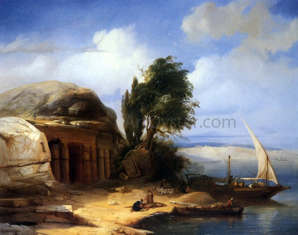 Jacobus Albertus Michael Jacobs On the Banks of the Nile - Canvas Art Print