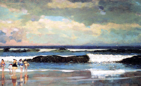 Winslow Homer On the Beach (also known as On the Beach, Long Branch, New Jersey) - Canvas Art Print