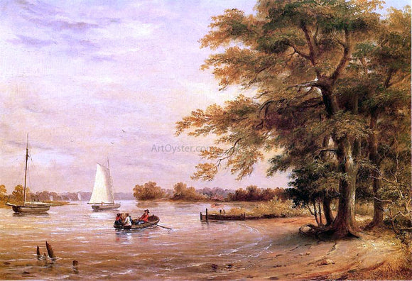 Thomas Birch On the Shrewsbury River, Redbank, New Jersey - Canvas Art Print