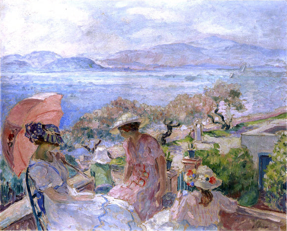 Henri Lebasque On the Terrace by the Sea at St Maxime - Canvas Art Print