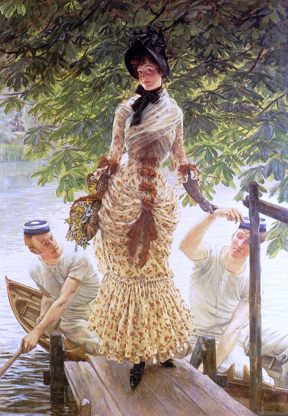 James Tissot On the Thames (also known as Return from Henley) - Canvas Art Print