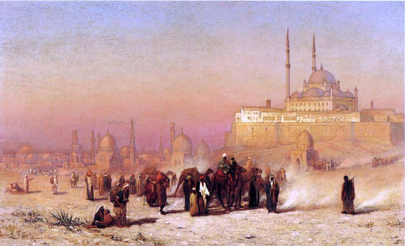 Louis Comfort Tiffany On the Way between Old and New Cairo, Citadel Mosque of Mohammed Ali, and Tombs of the Mamelukes - Canvas Art Print