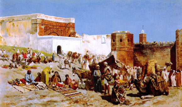 Edwin Lord Weeks Open Market, Morocco - Canvas Art Print