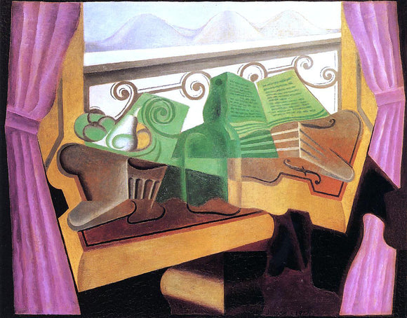 Juan Gris Open Window with Hills - Canvas Art Print