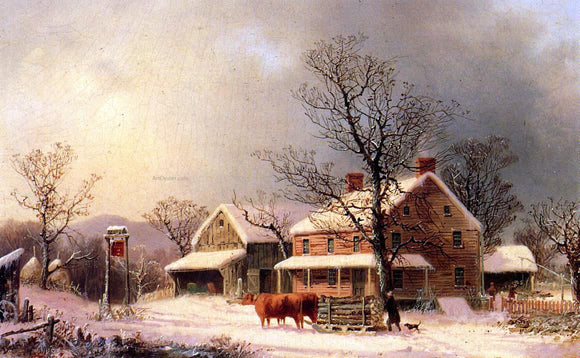 George Henry Durrie Oxen Hauling Logs on a Sled - Canvas Art Print