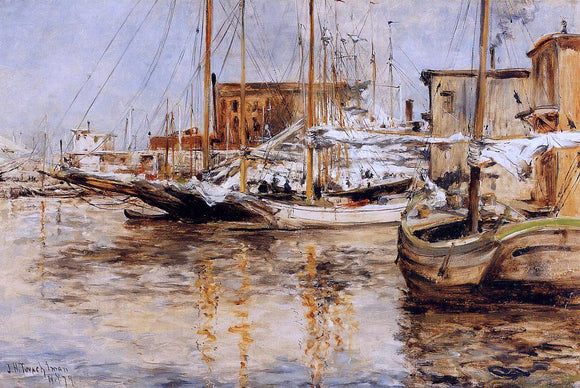 John Twachtman Oyster Boats, North River - Canvas Art Print