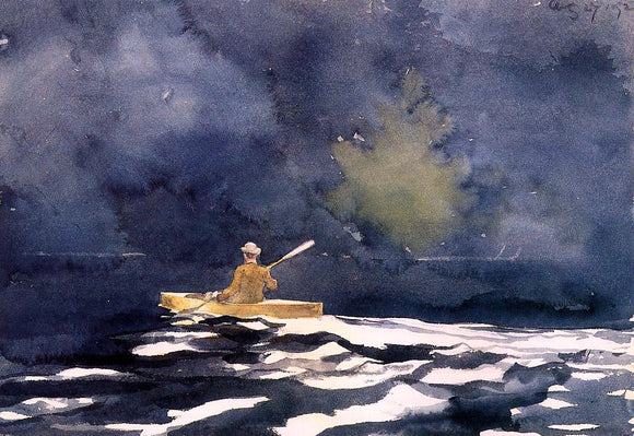 Winslow Homer Paddling at Dusk - Canvas Art Print