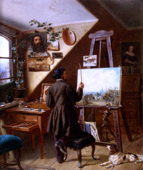 Gustav Adolf Friedrich Painting Horses In The Studio, A Self Portrait - Canvas Art Print