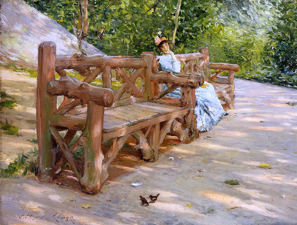 William Merritt Chase A Park Bench (also known as An Idle Hour in the Park - Central Park) - Canvas Art Print