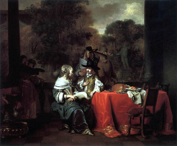 Gerbrand Van den Eeckhout Party on a Terrace - Canvas Art Print