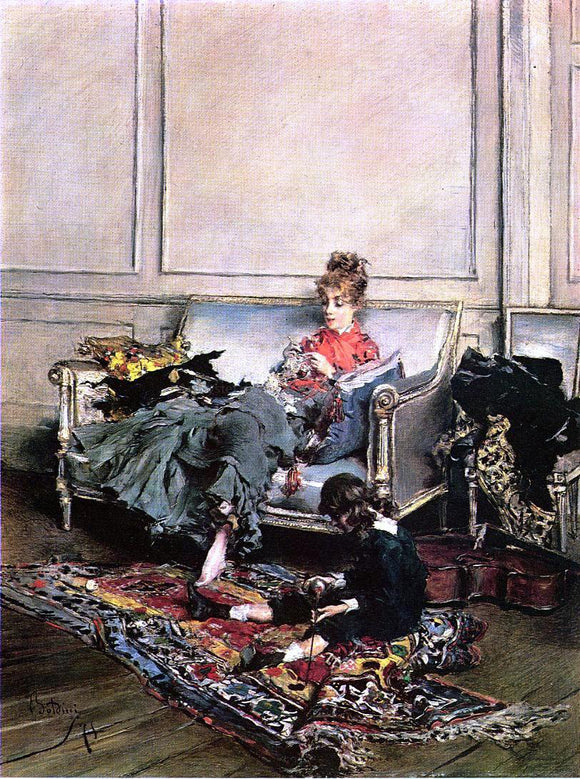 Giovanni Boldini Peaceful Days (also known as The Music Lesson) - Canvas Art Print