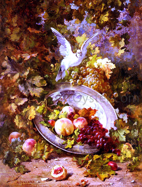 Antoine Bourland Peaches And Grapes With A Dove - Canvas Art Print