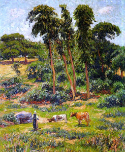 Henri Moret Peasant and Her Herd - Canvas Art Print