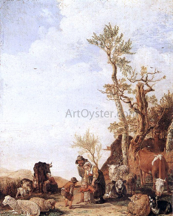 Paulus Potter Peasant Family with Animals - Canvas Art Print