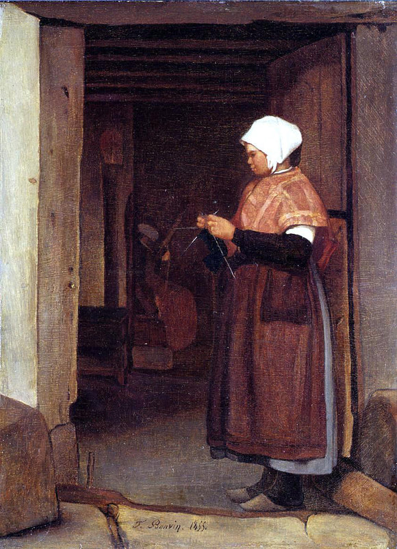Francois Bonvin Peasant Knitting - Canvas Art Print