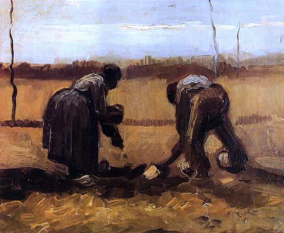 Vincent Van Gogh Peasant Man and Woman Planting Potatoes - Canvas Art Print