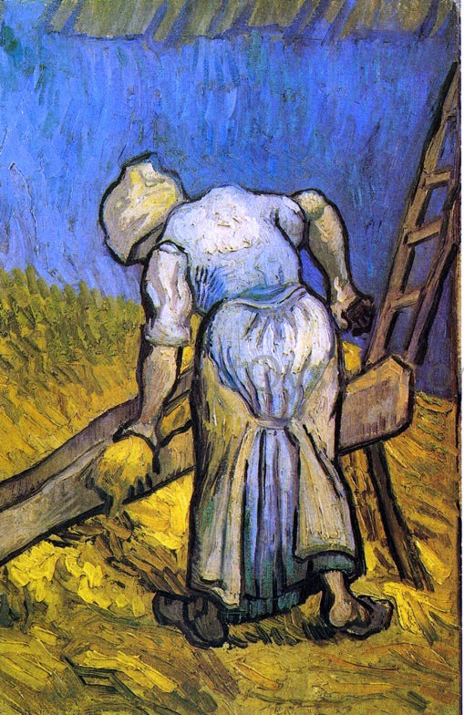Vincent Van Gogh Peasant Woman Cutting Straw (after Millet) - Canvas Art Print